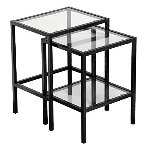 Set of 2 Pcs Glass Nesting Table Solid Bedside Cabinet Storage End Side Beside Shelf by Sgood