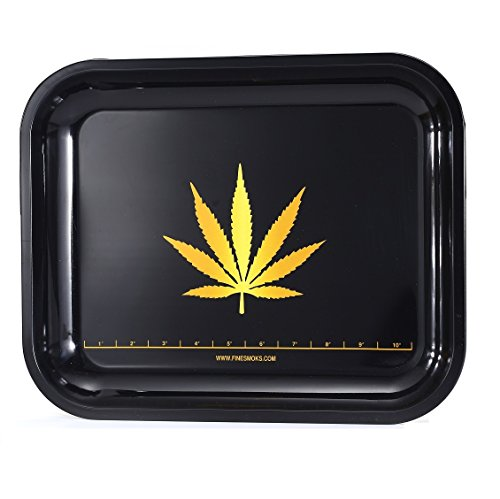 Price comparison product image FineSmoks Rolling Tray 13.5''x11'' Black XXL Size Tray W / Unique Measuring System