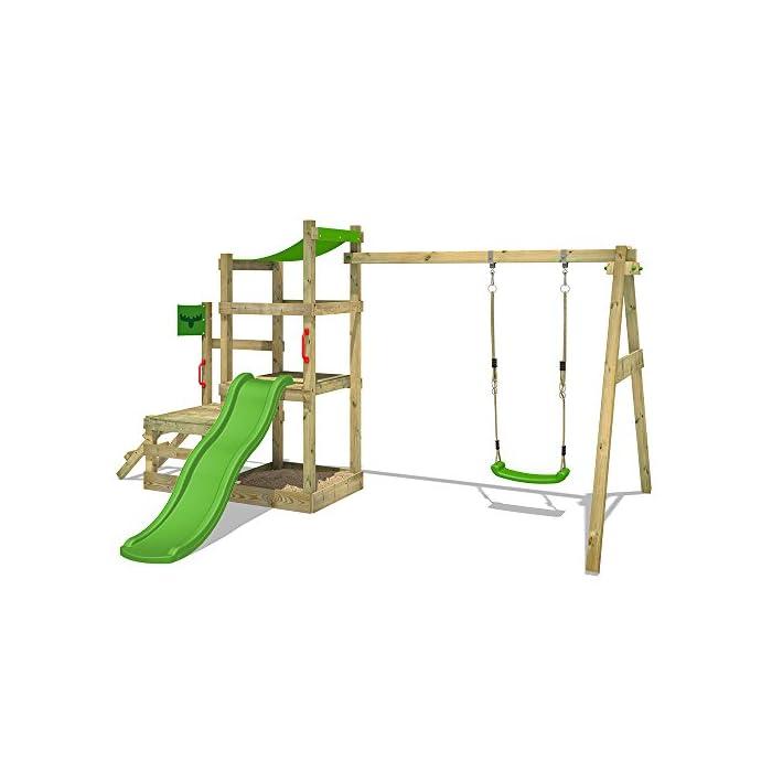 410iY%2BbTyEL XXL Parque infantil con 2 niveles de juego, columpio, tobogán, cajón de arena y escalera para trepar Viga de columpio de 9x9cm, postes verticales de 7x7cm - Made in Germany - Calidad-y- seguridad verificadas Instrucciones de montaje detalladas para un montaje fácil - Cajón de arena integrado XXL