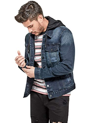 GUESS Factory Men's Vertix Hooded Super Stretch Denim Jacket (Jacket Jeans Guess)