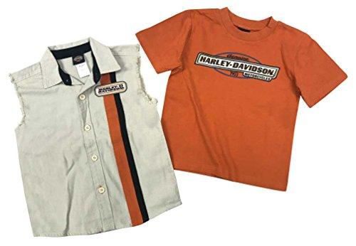 Harley-Davidson Big Boys' 2 Piece Blow-Out Shirt & T-Shirt Set 1091521 (8/10) Khaki