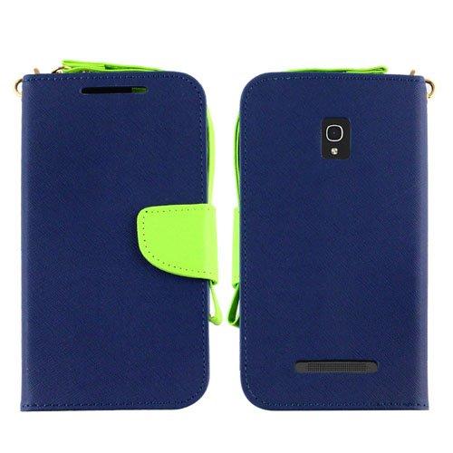 Alcatel One Touch Pop Mega LTE A995L / A995L, LF 4 in 1 Bundle, 2 Tone Premium PU Leather Flip Wallet Credit Card Cover Case, Stylus Pen, Screen Protector & Wiper For Alcatel One Touch Pop Mega LTE A995L / A995L (Wallet Blue)