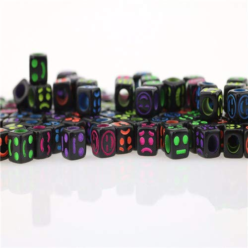 300Pcs Mixed Black Acrylic Material Smile Face Cube Pony Beads Spacer Loose Beads for Jewelry Making - Spacer Face Beads