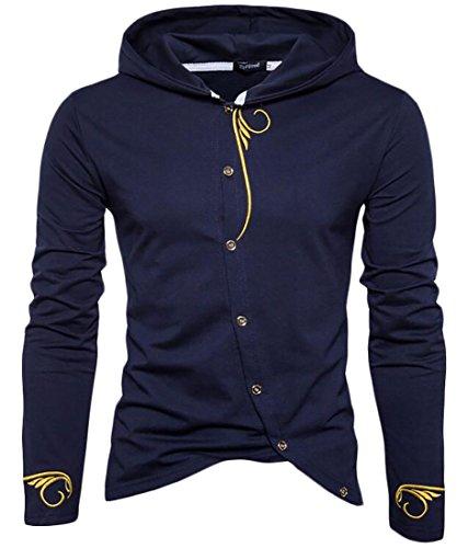 Embroidery Navy Blue Hoodie - 3