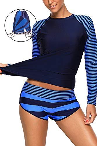 CHARMCZ 2 Pcs Women's Rashguard Long Sleeve Swimsuit UV Sun Protection Tankini Athletic Bathing Suits (XX-Large (fits Like US 16-18), A-Blue Strips)