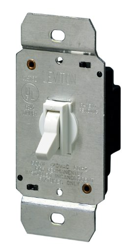 Leviton 6641-W 600W Incandescent Toggle Dimmer, Single-Pole, White