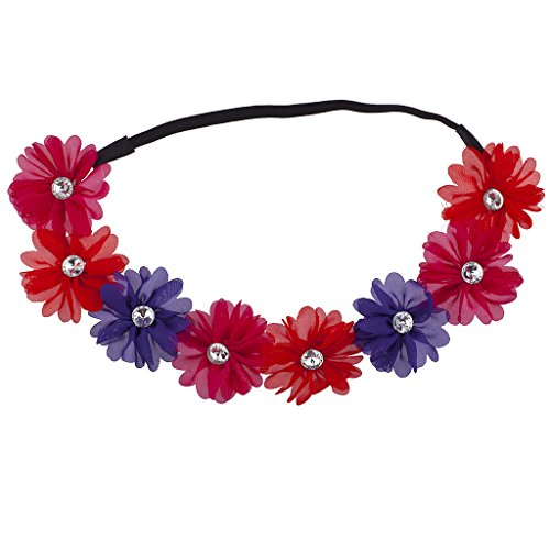 Lux Accessories Pink Red Purple Crystal Stone Floral Elastic Headwrap Headband