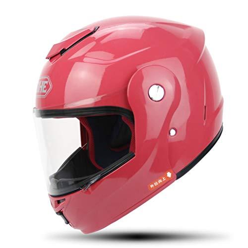 HJL Casco eléctrico de Moto Casco de Invierno cálido Casco Integral Hombres y Mujeres Medio Casco (Color : Rosa roja,...