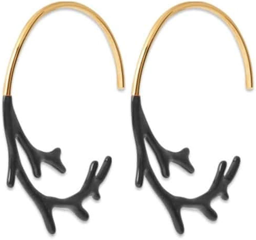 Tata Giselle - Pendientes chapados en Oro y esmaltado Negro – Aros Coral – Bolsa de Regalo de Terciopelo