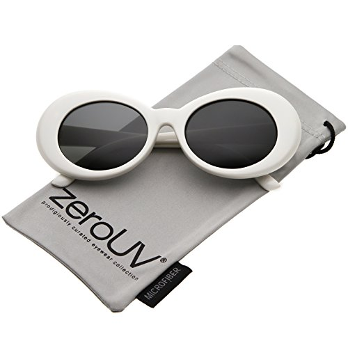 zeroUV - White Bold Retro Oval Mod Thick Frame Sunglasses Clout Goggles with Round Colored Lens 51mm (White / - Crazy Sunglasses