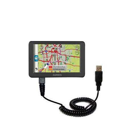 Gomadic USB Charging Data Coiled Cable for the Garmin dez...