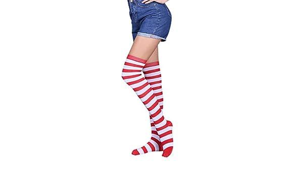 BaZhaHei-Calcetines Calcetines by Mujer Muslo Sexy Mujer Alta Sobre la Rodilla Calcetines Medias largas Calcetines Largos a Rayas de Mujer de High Over The ...