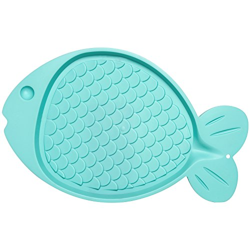 Loving Pets Bella Spill-Proof Fish-Shaped Mat for Cats, Aqua