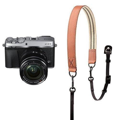 Fujifilm X-E3 Mirrorless Digital Camera w/XF18-55mm Lens Kit - Silver w/ Fujifilm Premium Leather Camera Strap - Brown