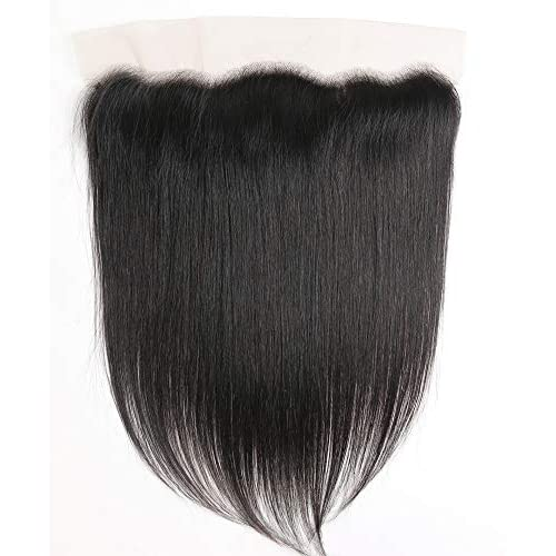 """BAIYAO Hair 10"""" inch Free Part 13x4"""" Full Lace Frontal Straight Closure With Baby Hair Ear To Ear Lace Frontal Brazilian Virgin Remy Human Hair Front Top Extensions Natural Color"""