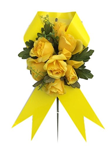In Memory of Loved Ones Graveside Floral Arrangements Cemetery Wreaths Vases and Stakes (Child Hood Cancer, Gold Ribbon/Flowers)