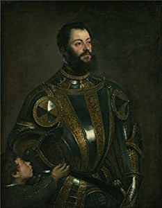 Oil painting 'Portrait of Alfonso d'Avalos, Marquis of Vasto, in Armor with a Page, about 1553 By Tiziano Vecellio' printing on Cotton Canvas , 18x23 inch / 46x59 cm ,the best Foyer decor and Home decoration and Gifts is this High Resolution Art Decorative Prints on Canvas