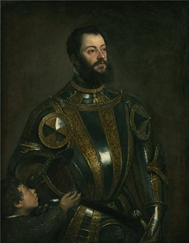 The High Quality Polyster Canvas Of Oil Painting 'Portrait Of Alfonso D'Avalos, Marquis Of Vasto, In Armor With A Page, About 1553 By Tiziano Vecellio' ,size: 18x23 Inch / 46x59 (Armor Costume Tutorial)