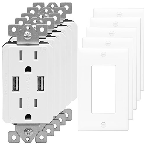 USB Outlet Charger by TOPGREENER TU2152A 2.1 AMP Dual USB...