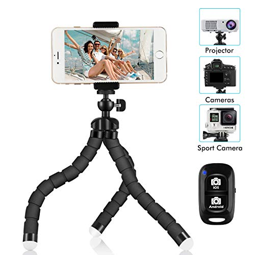 Phone Tripod, SIX-QU 8.3in Adjustable and Flexible Phone Stand Holder with Wireless Remote Shutter and Universal Clip Compatible with iPhone, Android Phone, Camera and Gopro