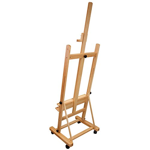 US Art Supply 70 to 96 inch Tall Adjustable Classic Hand-Finished Wood Studio Adjustable H-Frame Artist Easel by US Art Supply (Image #2)