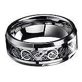 Nuevos anillos de bodas de plata titanio de dragón Celta Acero inoxidable hombres banda sakcharn EW, Plateado