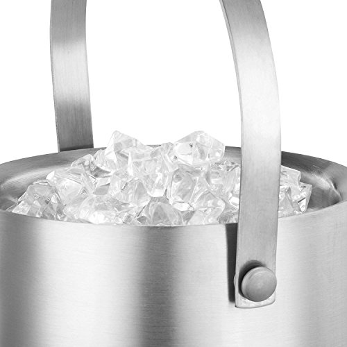 Deppon Insulated Ice Bucket with Tong Sealed by Rubber Ring Double Walled Stainless Steel Tub Heavy-Duty Compact Enhanced Handle Wine Liquor Accessory -