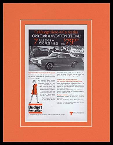 1970 Budget Rent a Car Oldsmobile Framed 11x14 ORIGINAL Vintage Advertisement (Budget Rent)