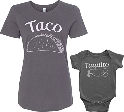 Threadrock Taco & Taquito Infant Bodysuit & Women's T-Shirt Matching Set (Baby: 6M, Charcoal|Women's: M, Charcoal)