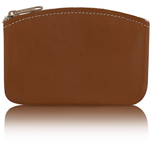 (Classic Men's Large Coin Pouch Change Holder, Genuine Leather, Zippered Change Purse, Pouch Size 5 x 3 By Nabob (Tan))