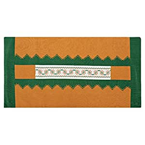 Turathna Cotton Charm Handmade Cross Stitch Saya Table Center Piece - Green And Orange