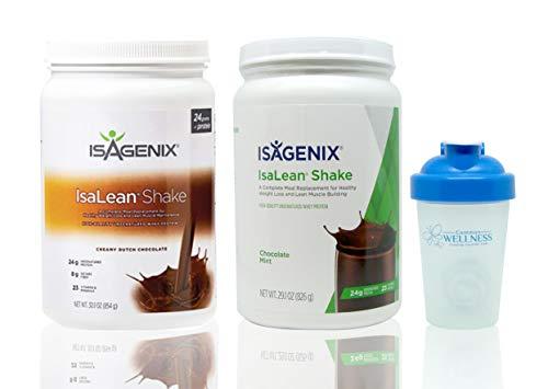 (Isagenix Isalean Creamy Dutch Chocolate Shake & Chocolate Mint Shake Combo 29.1oz Canisters & BONUS Common Wellness shaker bottle(2 Pack) )