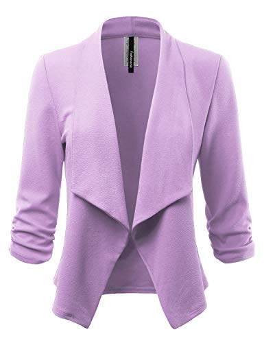 FASHIONOLIC Women's Stretch 3/4 Gathered Sleeve Open Blazer Jacket (Made in USA) (CLBC001) Lavender 2X ()