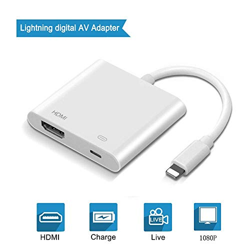 (Lighting to Digital AV Adapter, 2 in 1 Plug and Play 1080P Audio AV Connector,HDMI AV Adapter Converter Compatible with Phone XR/ XS/ Max X /8 /7/ 6 Plus /Pad to TV Projector Monitor- White)