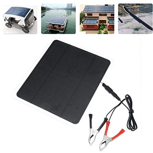 Fine 20W Solar Panel,Car Battery Charger, Portable Solar Panel,12V / 5V Battery Charger for RV Boat, Car, Caravan (with Alligator Clip) (Black)