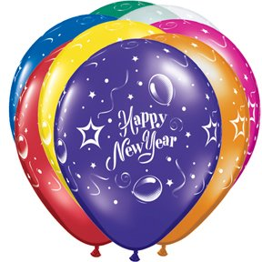 25 Happy New Year Balloons - Assorted Colors Latex