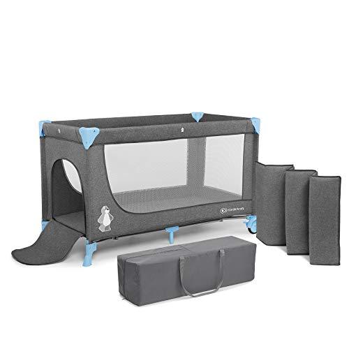 Kinderkraft reisbedje JOY, box, babybedje, campingbedje, modern ontwerp, kleine afmetingen na inklappen, wieltjes, blauw
