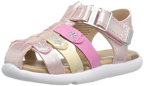 Step & Stride Delvine-P Baby Girl's Adjustable Fisherman Sandal, Pink, 4 M US Toddler (Dual Star Collar)