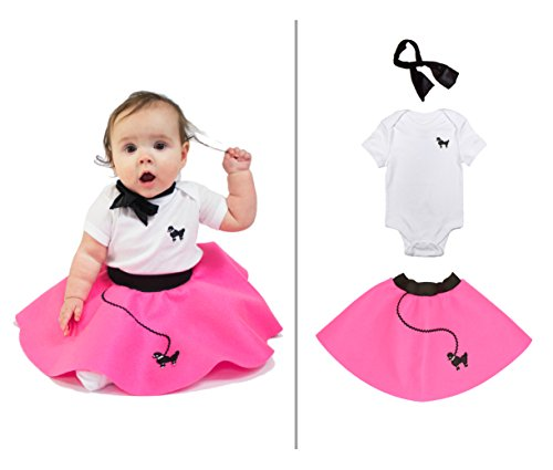 Hip Hop 50s Shop Baby/Infant 3 Piece Poodle Skirt Costume Set - Hot Pink (12 month) (50s Pink Poodle Girls Costume)