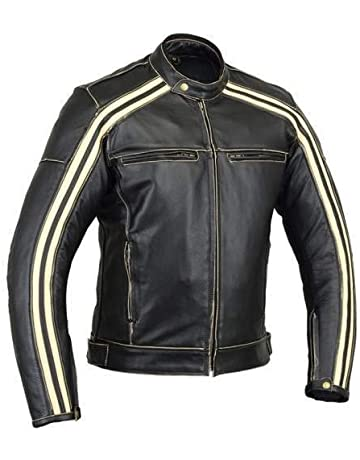 Australian Bikers Gear Retro Style The Bonnie - Chaqueta de moto, Negro /