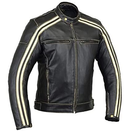 Australian Bikers Gear Retro Style The Bonnie - Chaqueta de moto, Negro / Blanco, L