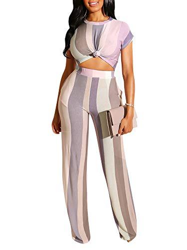 (Succi Women's Summer Short Sleeve Stripe Printed High Waist Bodycon Long Pants Jumpsuit Romper Clubwear Purple S )