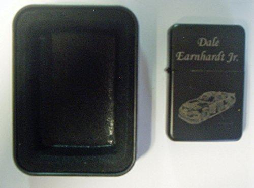 (Dale Earnhardt Jr car #8 engraved Black Plated Brass Refillable Lighter in black tin case)