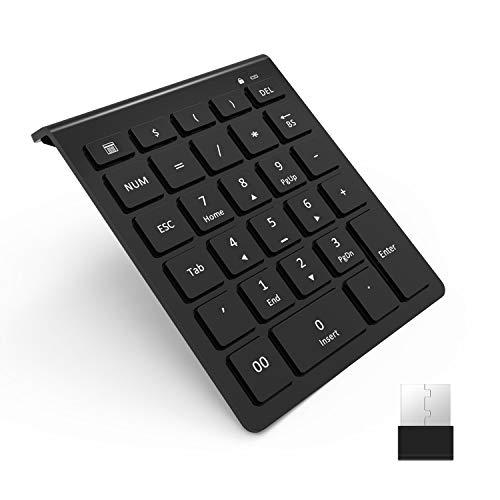Laptop Keypad (Wireless Number Pad, Vive Comb 28-Key External Numeric Keypad Slim Numpad Full Size with Shortcuts for Laptop, Desktop, PC, Notebook-Black …)