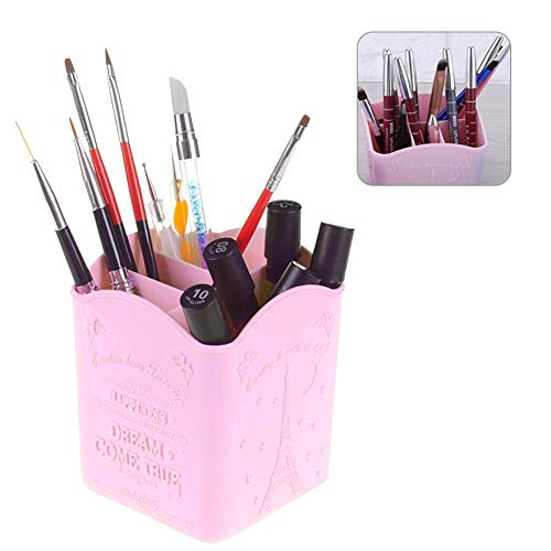 4 Grids Storage Box Multi-Functional Cosmetic&Manicure Tools Organizer, Stationery Storage Box Collection with Eiffel Tower Print (3 Colors)(Pink)