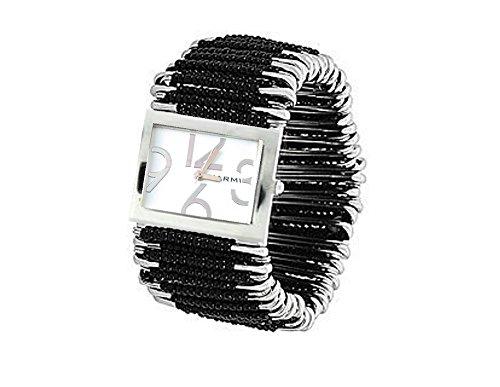 PlanetZia Beautiful Black Stretch Safety Pin Watch WT-BLK