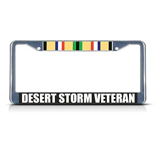 Teisyouhu Desert Storm Veteran Military License Plate Frame Car Licence Plate Covers Auto Tag Holder
