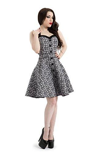 50 Retro Bones Rockabilly de destornilladores de calaveras es pimentero con forma de Summer e instrucciones para hacer vestidos blanco y negro