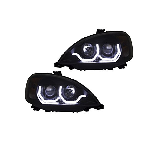 Freightliner Columbia LED Headlights 2004-2015 BLACK U Bar Projector DOT SAE A0651041000A0651041001 PAIR