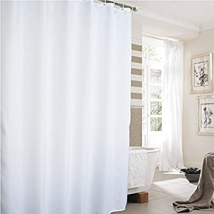 Extra Long Shower Curtain Heavy Duty Fabric For Hotel With Weighted Hem And